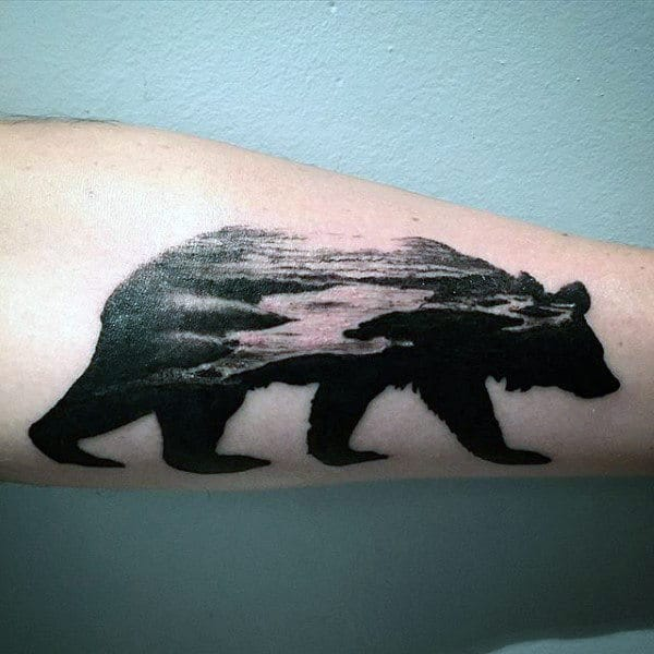 Ocean Landscape California Bear Black Ink Mens Forearm Tattoos