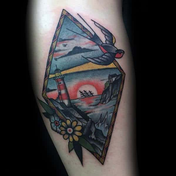 ocean-landscape-swallow-male-traditional-arm-tattoos