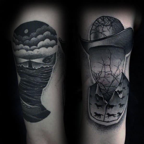 Ocean Lighthouse Mens Unique Thigh Tattoos