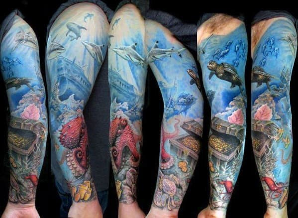 Ocean Scene Mens Treasure Chest Full Sleeve Tattoo Ideas