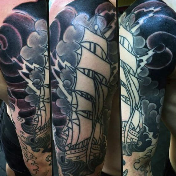 Ocean Ship Lightning Flash Tattoo For Men