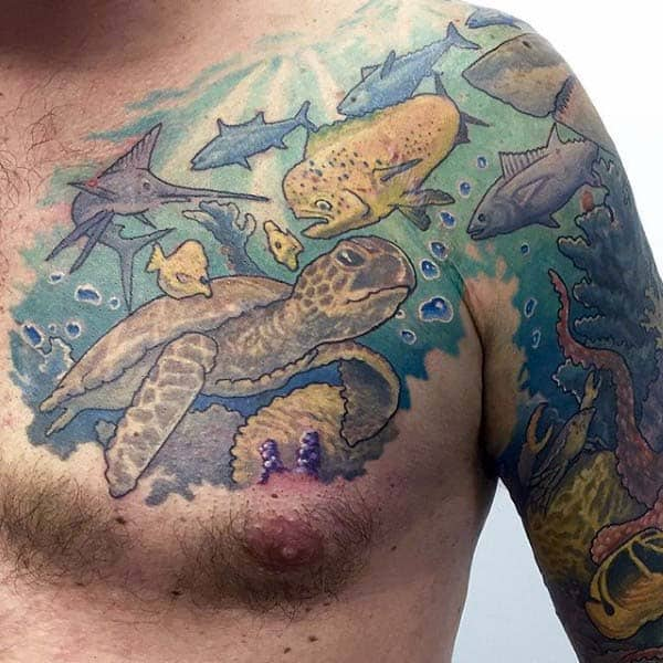 Ocean Themed Mens Turtle Chest And Arm Tattoo