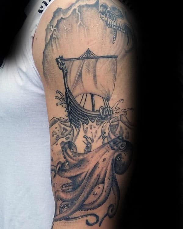 Ocean Water Kraken Upper Arm Tattoo On Gentleman