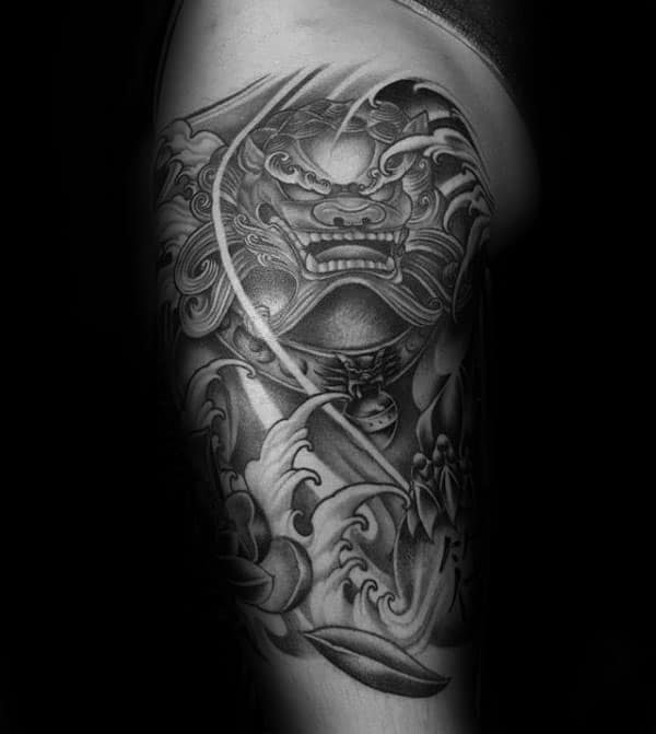 Ocean Water Waves Guys Foo Dog Half Sleeve Tattoo