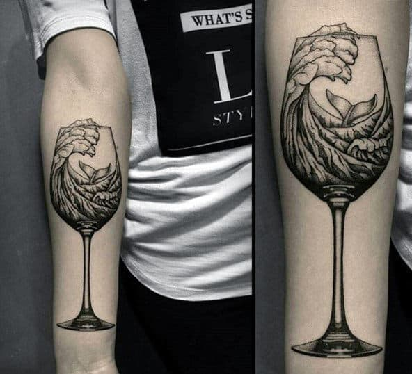 Ocean Wave In Wine Glass Badass Mens Inner Forearm Tattoo Ideas