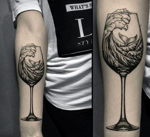 Ocean Wave In Wine Glass Badass Mens Inner Forearm Tattoo Ideas