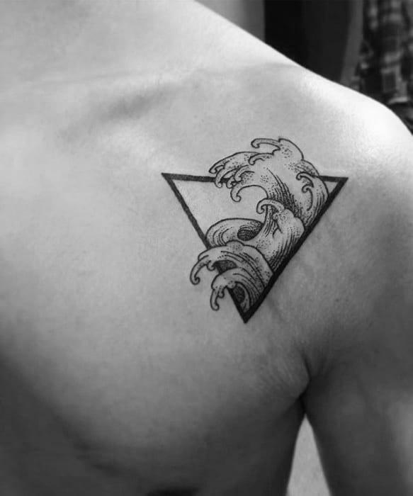 Ocean Wave Triangle Guys Simple Upper Chest Tattoo Designs
