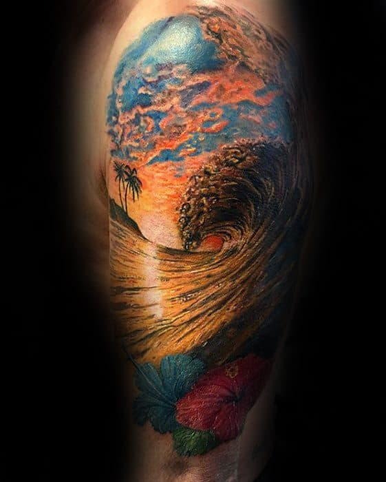 Ocean Wave Tropical Male Unique Arm Half Sleeve Tattoo