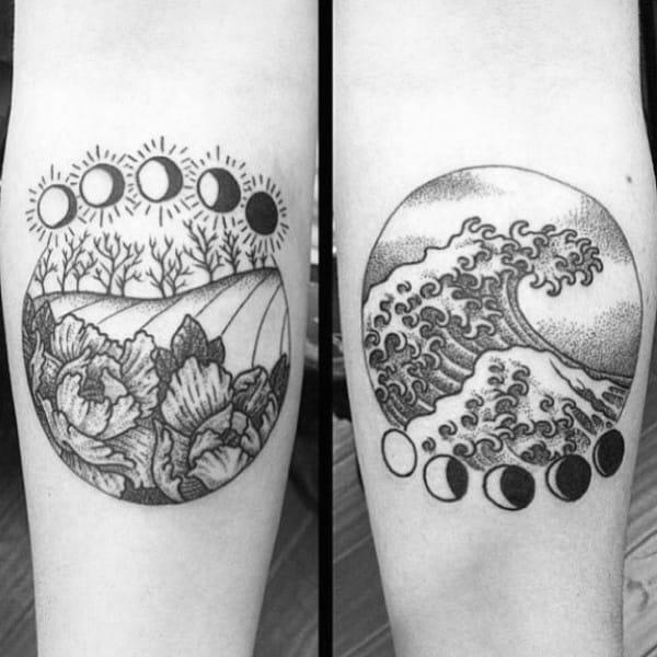 Ocean Wave With Farm Moon Phases Nice Inner Forearm Tattoos