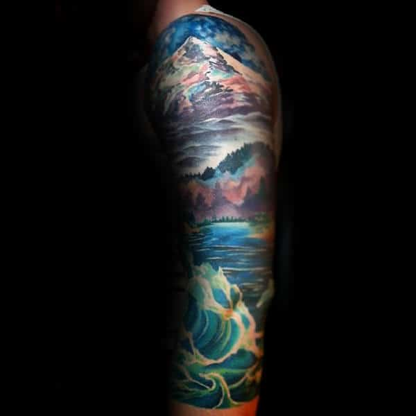 Ocean Waves And Mountain Landscape Sleeve Tattoo For Guys