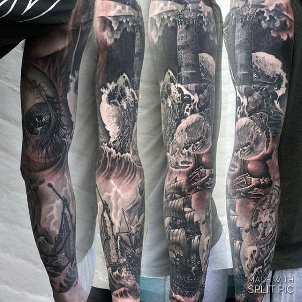 f2cf0ef42 Ocean Waves Guys Full Sleeve Nautical Themed Tattoo Inspiration