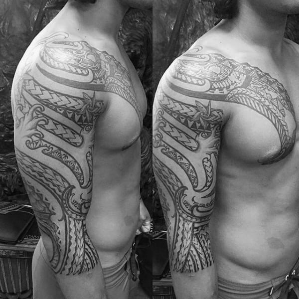 Ocean Waves Half Sleeve Tribal Mens Tattoos