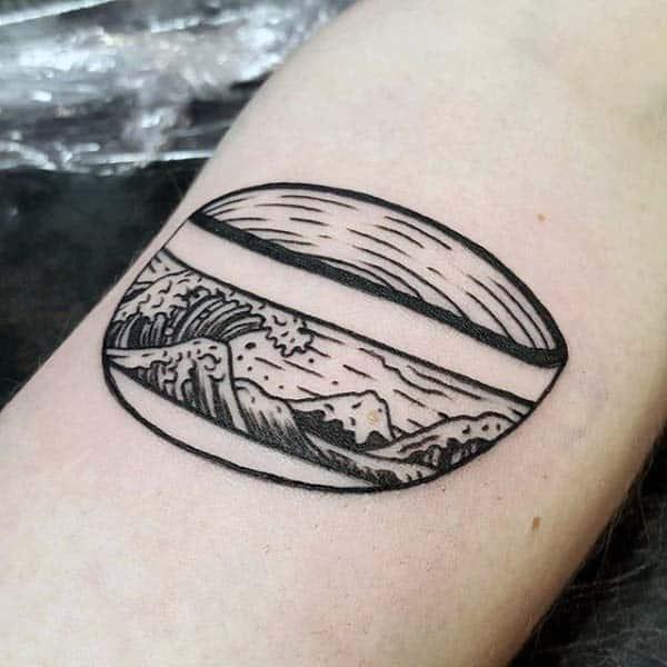 Ocean Waves In Bowl Woodcut Arm Tattoos For Gentlemen