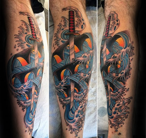 Ocean Waves Katana Japanese Sword Mens Leg Tattoo