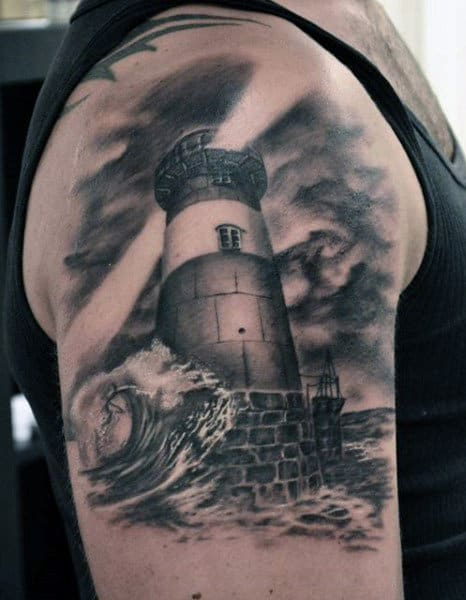 Ocean Waves Lighthouse Tattoo For Men On Arm