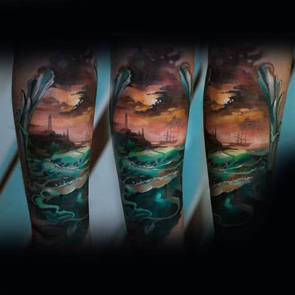 Ocean Waves Mens Cloudy Sky Leg Tattoo Designs