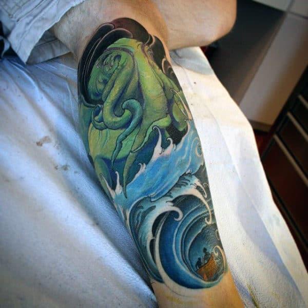 Ocean Waves Mens Creative Cthulhu Shin Tattoo Ideas