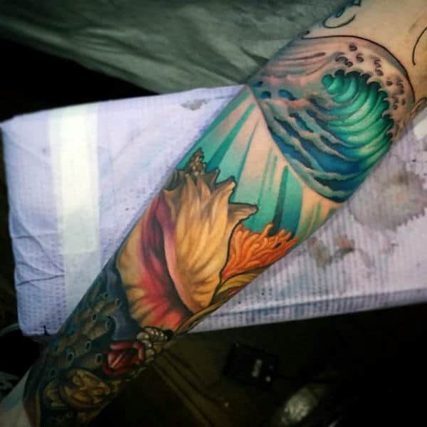 Ocean Waves Seashell Mens Forearm Sleeve Tattoo
