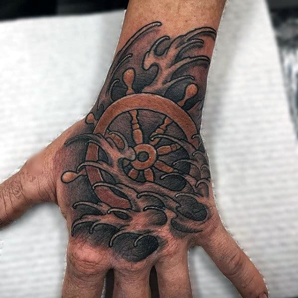 Ocean Waves Ship Wheel Mens Nauticalhand Tattoos