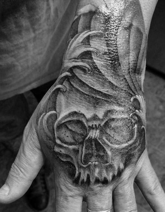 Ocean Waves Skull Shaded Mens Hand Tattoos