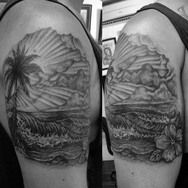 Ocean Waves With Hibiscus Flower Mens Upper Arm Tattoos