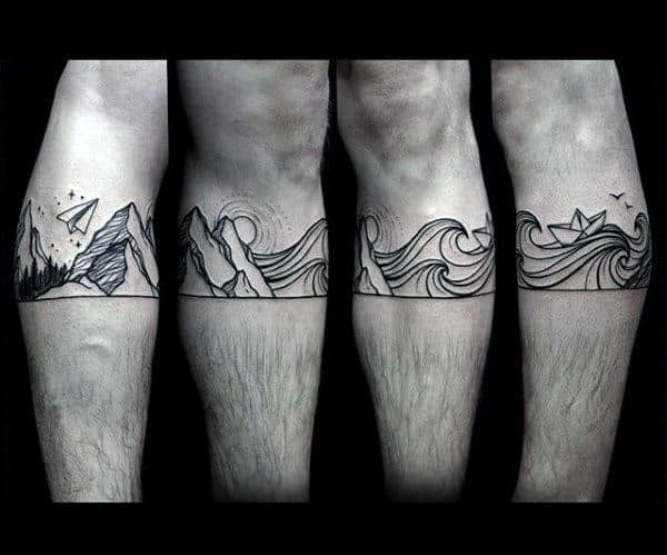 Ocean Waves With Mountains And Paper Airplane Mens Legband Tattoo