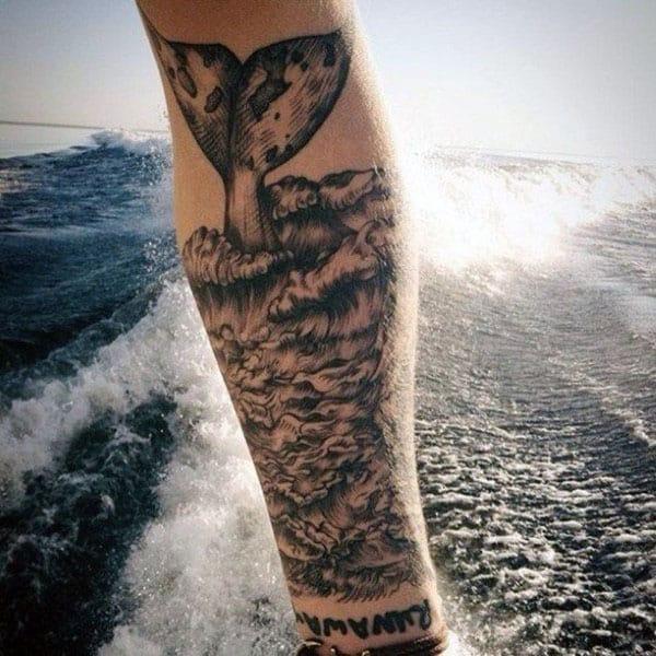 Ocewan Waves Whale Mens Forearm Tattoo Ideas