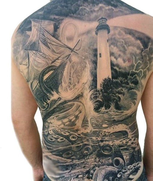 Octopus And Ship Tattoo For Males On Back