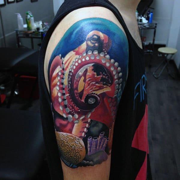 Octopus Artisticmens Half Sleeve Underwater Tattoos