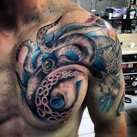 Octopus Guys Ship Wreck Cool Arm Tattoo
