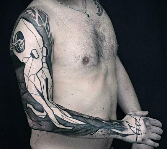 Octopus Mens Unique Watercolor Sleeve Tattoos