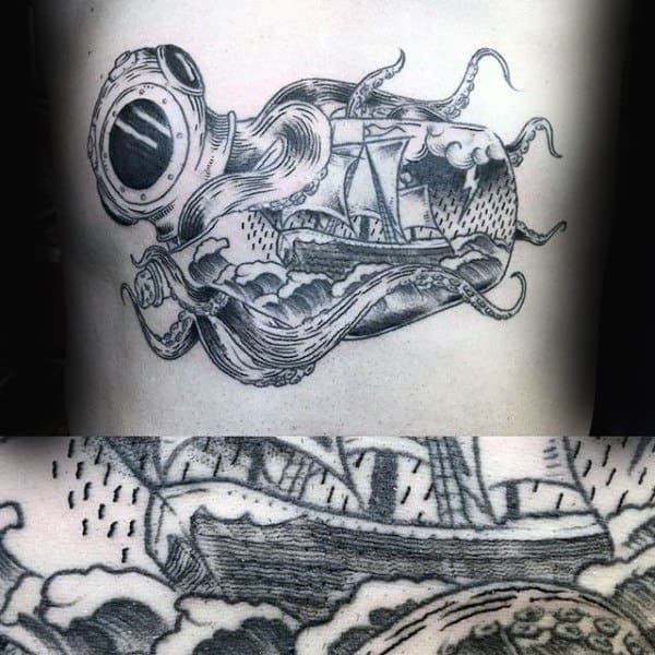 Octopus Ship In A Bottle Guys Ribs Tattoos
