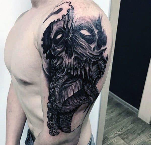 Octopus Skull Guys Arm 3d Tattoo Ideas