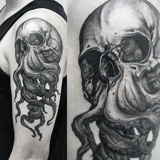 Octopus Skull Guys Arm Tattoos