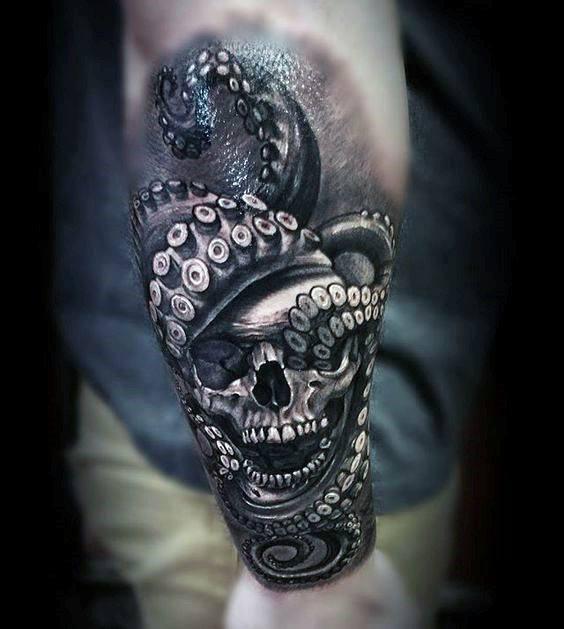 Octopus Skull Outer Forearm 3d Tattoos For Gentlemen