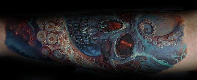 Octopus Skull Tattoo Designs For Men