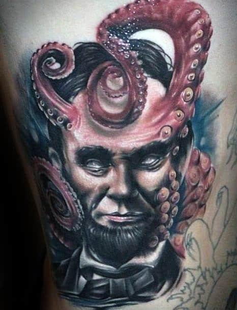 Octopus Tentacles Abraham Lincoln Tattoo Ideas For Males