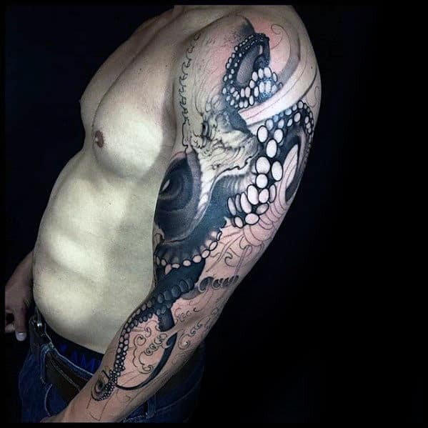 Octopus Tentacles Awesome Guys Arm Tattoos