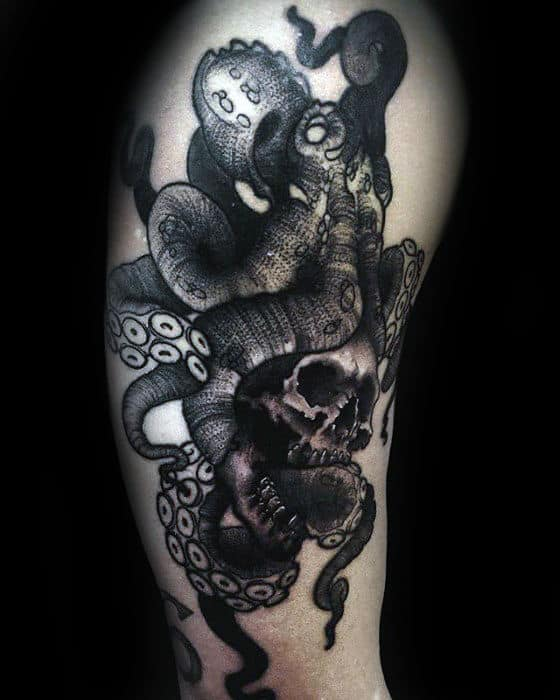 Octopus With Tentacles Wrapped Around Skull Male Arm Tattoos