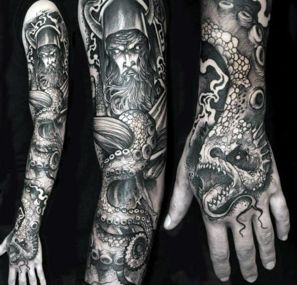 Octopus With Warrior Awesome Guys Black And Grey Ink Sleeve Tattoo Designs