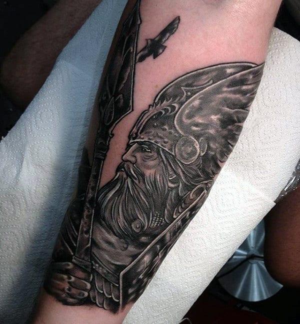 Odin Male Inner Forearm Tatoos