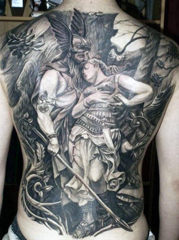 Odin Mens Full Back Tattoo Design Ideas