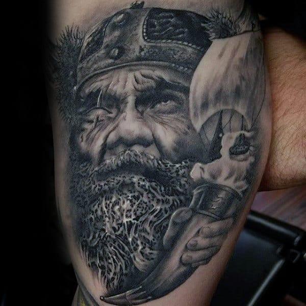 Odin Mens Thigh Tattoo Ideas