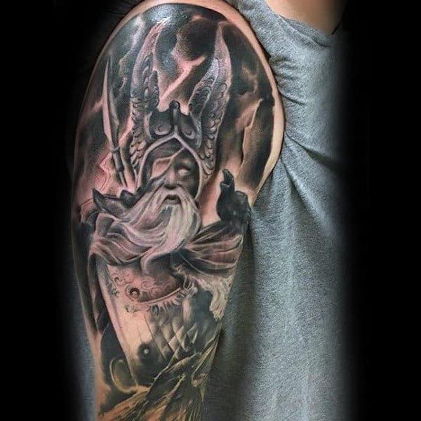 Odin Norse God Mens Half Sleeve Tattoo