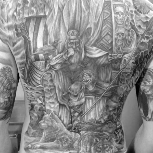Odin Norse Themed Full Back Tattoos For Males