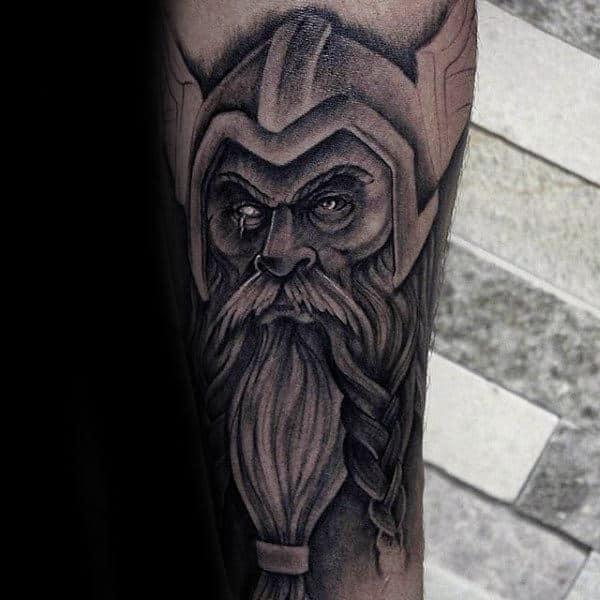 Odin Portrait Tattoo On Guys Lower Leg