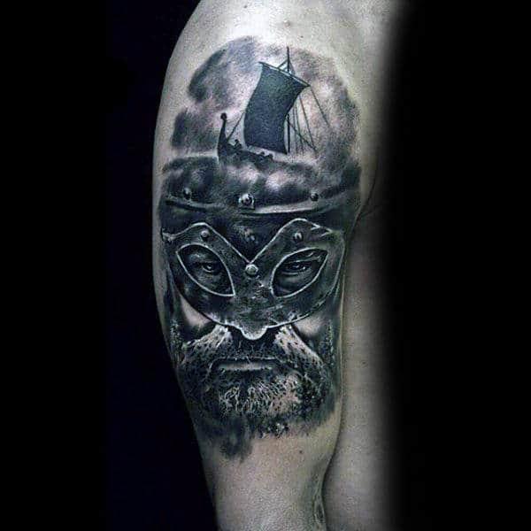 Odin Sailign Ship Helmet Mens Arm Tattoos