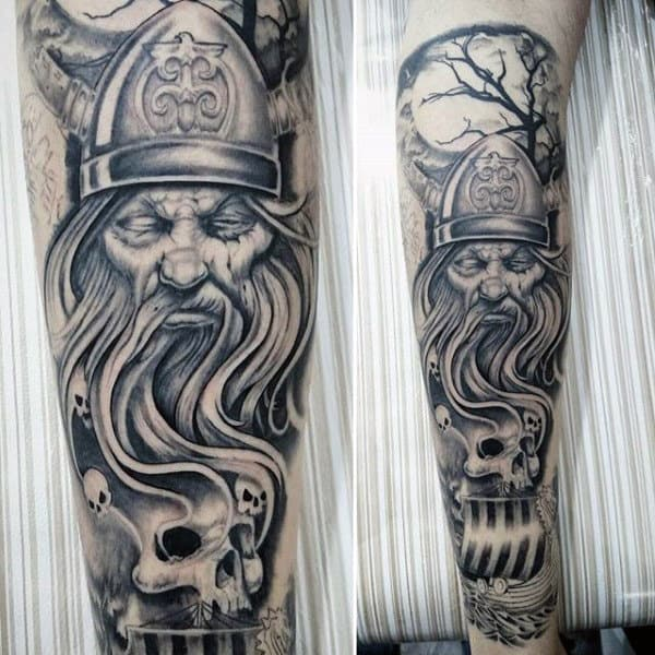 60 odin tattoo designs for men norse ink ideas for Mens leg tattoo ideas