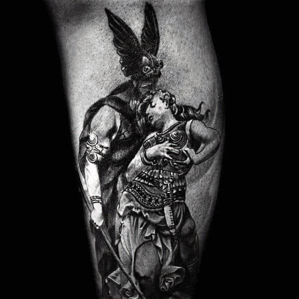 Odin With Female Mens Leg Tattoo Ideas