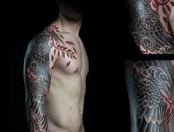 Odins Ravens Male Tattoos